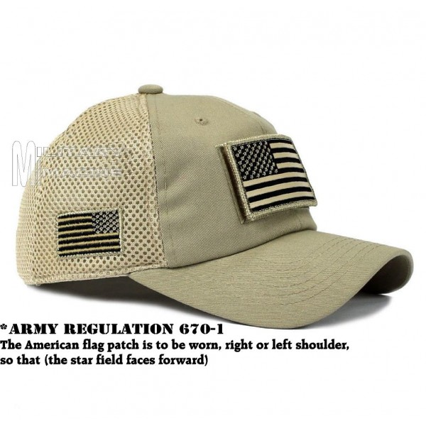 c5ed81d1e USA Flag hat Khaki Beige Patch Micro Mesh Tactical Operator Military cap