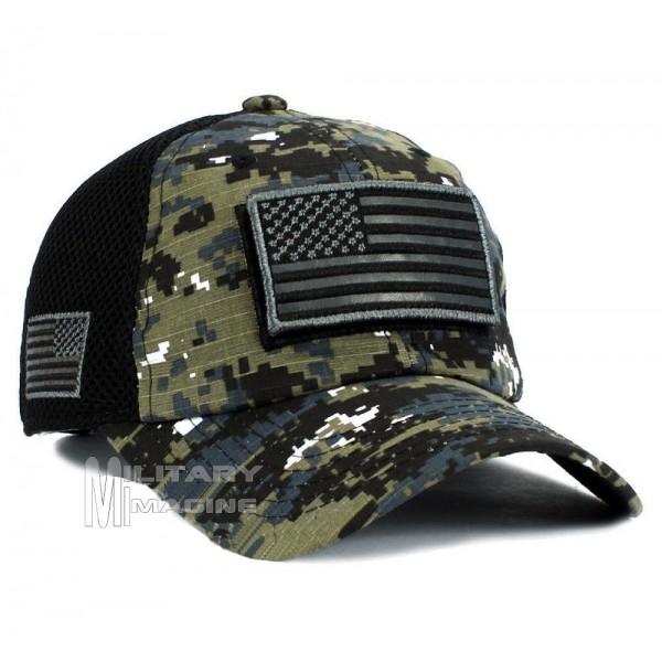USA American Flag Black Digital Detachable Patch Micro Mesh