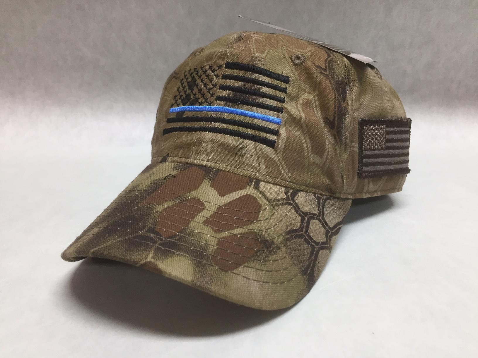 5b580d2777b Thin Blue Line Black Flag KRYPTEK Highlander US Flag Cap – Alys ...
