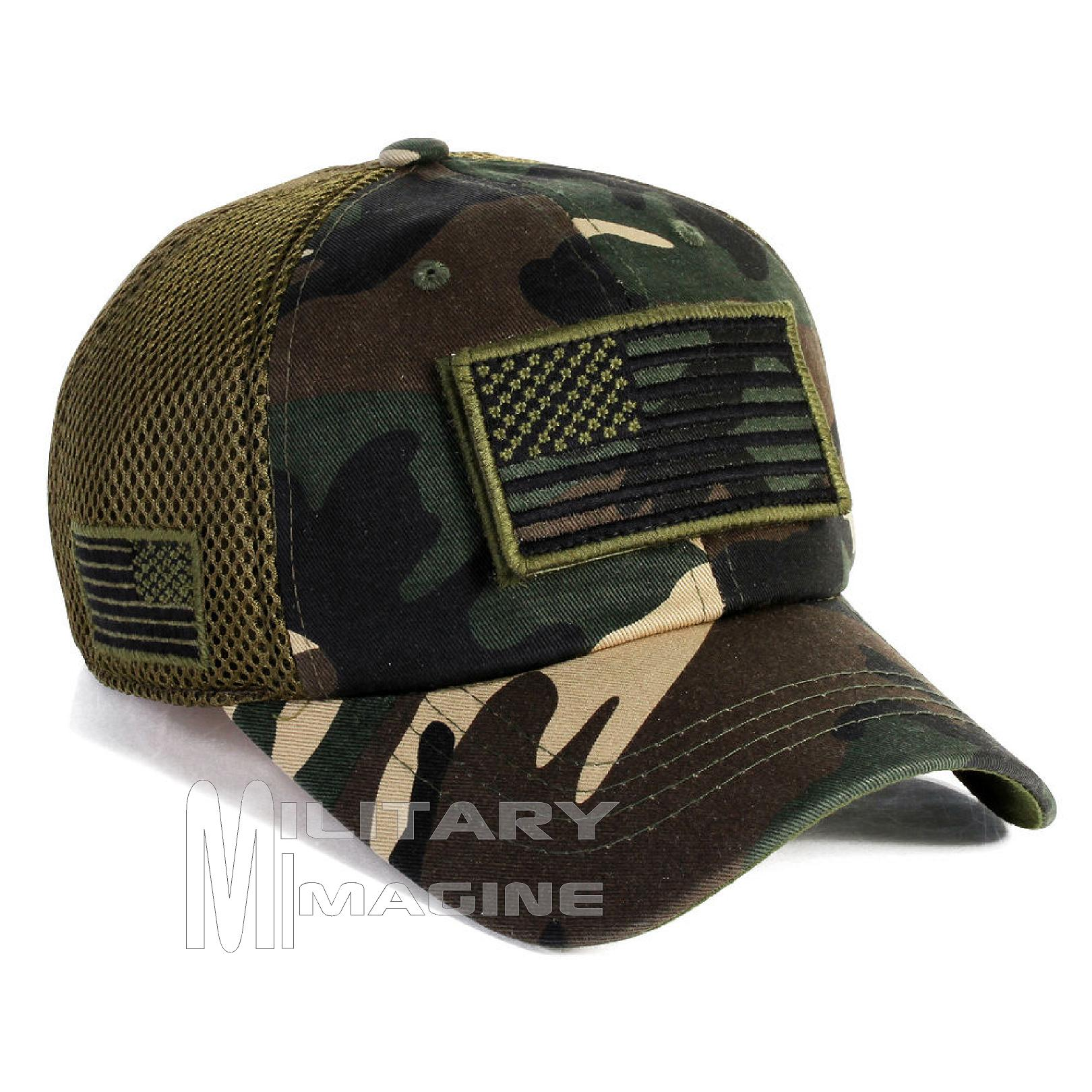 USA Flag hat Army Camo Patch Micro Mesh Tactical Operator Military ... dc26e737b60