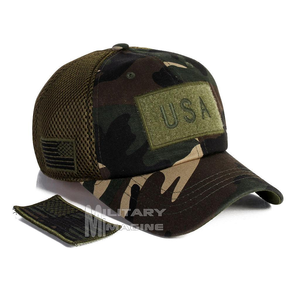 998e543f0b8 USA Flag hat Army Camo Patch Micro Mesh Tactical Operator Military ...