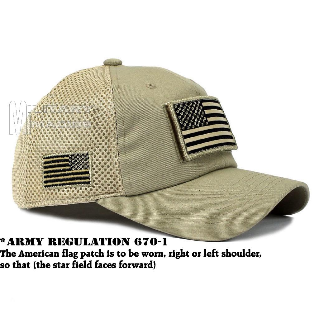 USA Flag hat Khaki Beige Patch Micro Mesh Tactical Operator