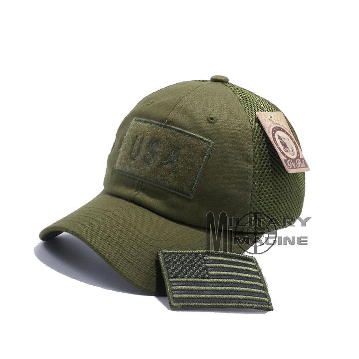 USA Flag hat Olive Green Patch Micro Mesh Tactical Operator Military ... 5d8baa69db7
