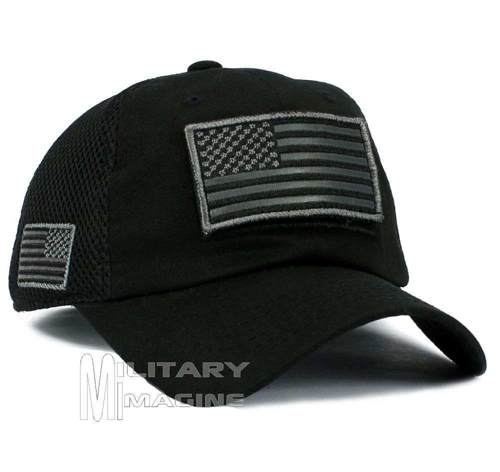 702c3931081 USA Flag hat Black Patch Micro Mesh Tactical Operator Military cap ...