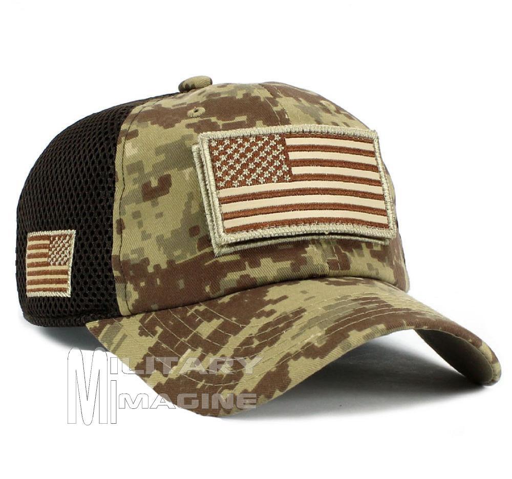 USA Flag hat Desert Digital Patch Micro Mesh Tactical Operator ... bd4b0693bc63
