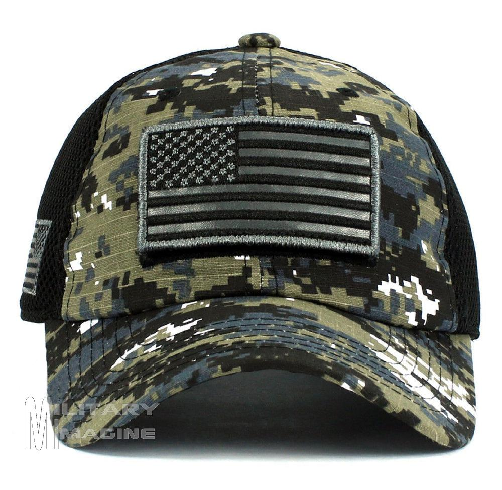 USA Flag hat Black Digital Patch Micro Mesh Tactical Operator ... 879e82ba053